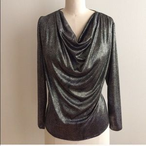 Vintage Cowl Neck Draping Silver Long Sleeve Top!